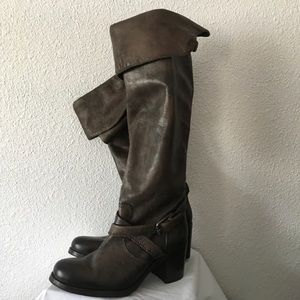 Frye Brown leather scrunch boots